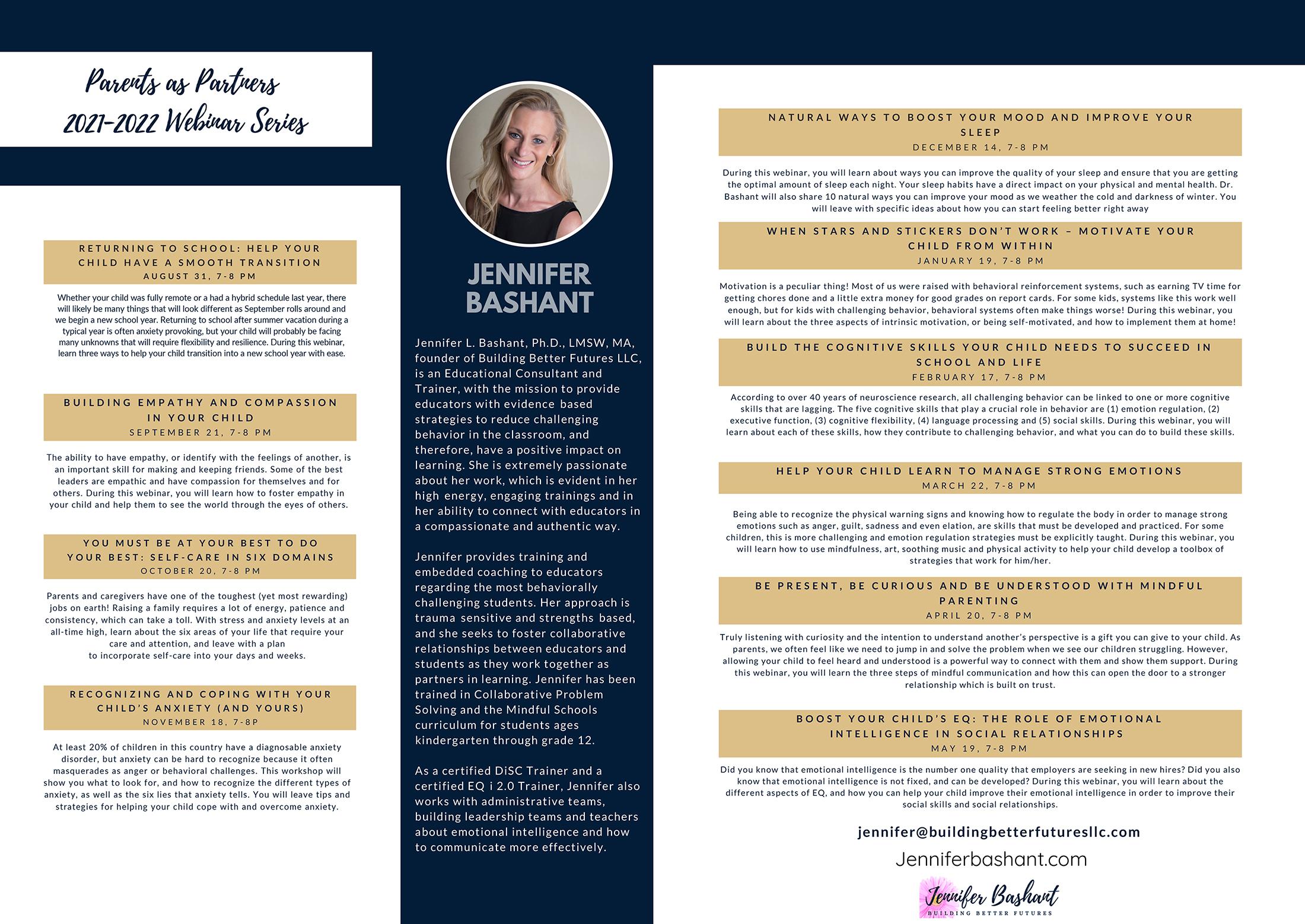 Jennifer Bashant bio and Parents as Partners webinar descriptions (8/2021)