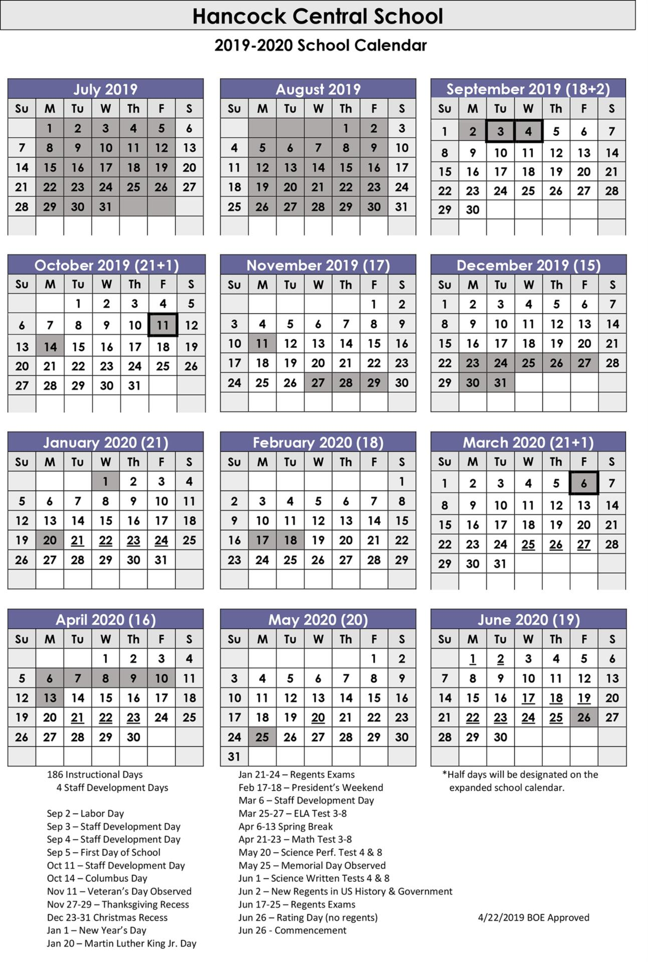 Hancock Central School District 2019-2020 Calendar