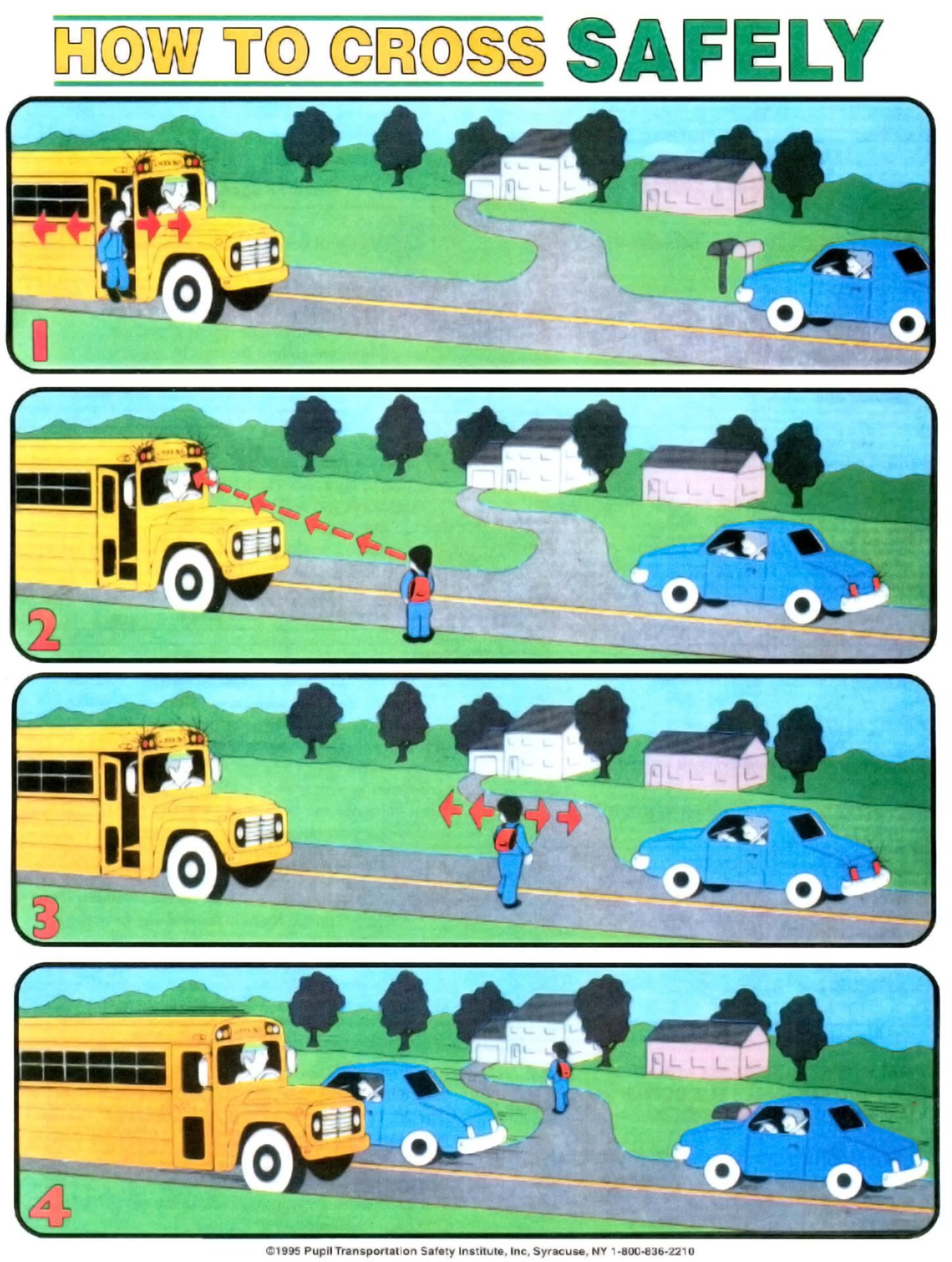 School Bus Safety Crossing Graphic