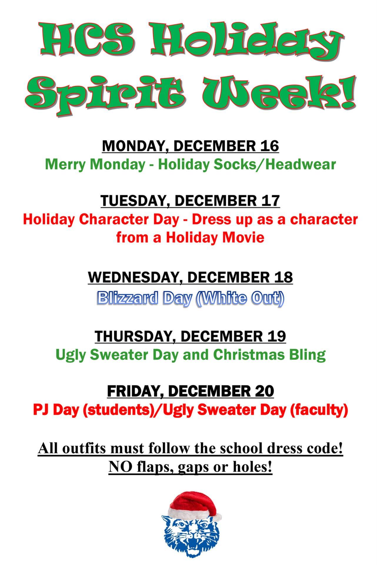 Hancock Holiday Spirit Week schedule 2019
