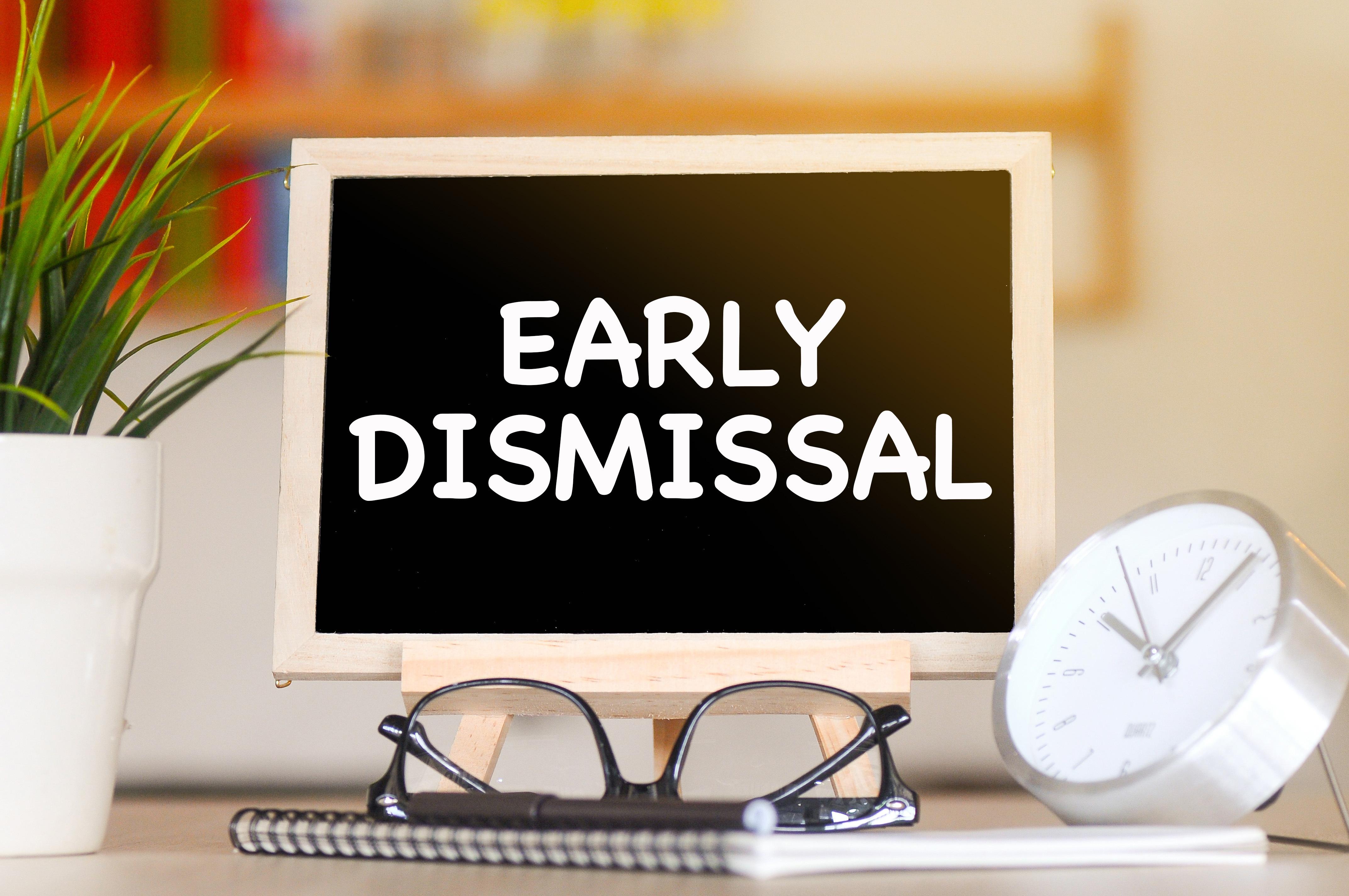 Early Dismissal on chalkboard (2020)