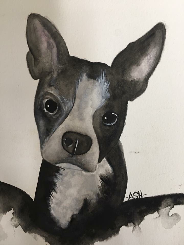 Image of watercolor painting of a dog.