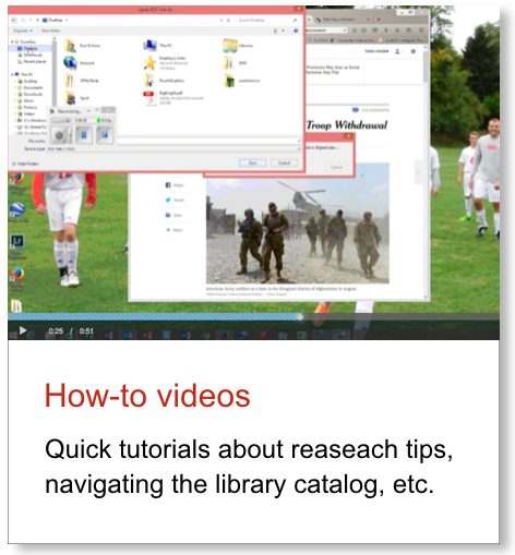 Graphic link to an embedde dYouTube collection of ACS Library How-To videos.