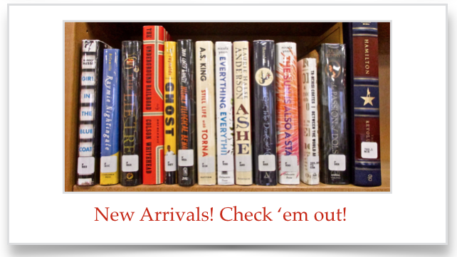 Graphic link to listing of recent book arrivals at the ACS Library.