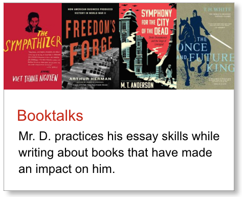Graphic link to off-site booktalk essays by Mr. D.