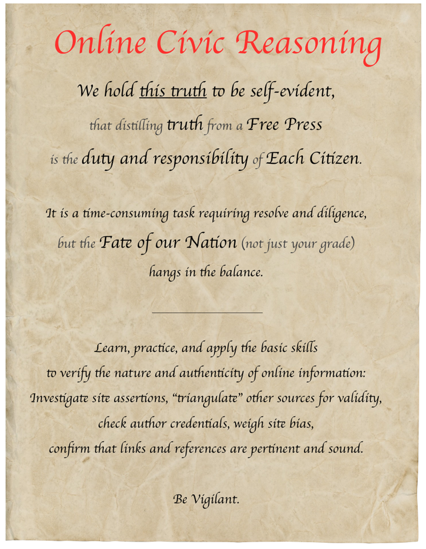 "The text of this image, ""Online Civic Reasoning,"" is available for download at the bottom of this page."