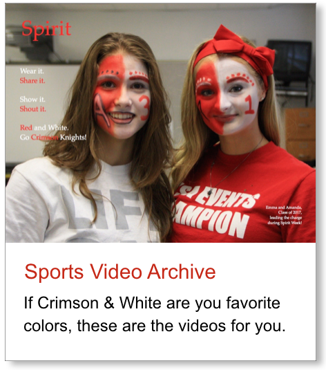 Graphic link to a collection of ACS sports videos.