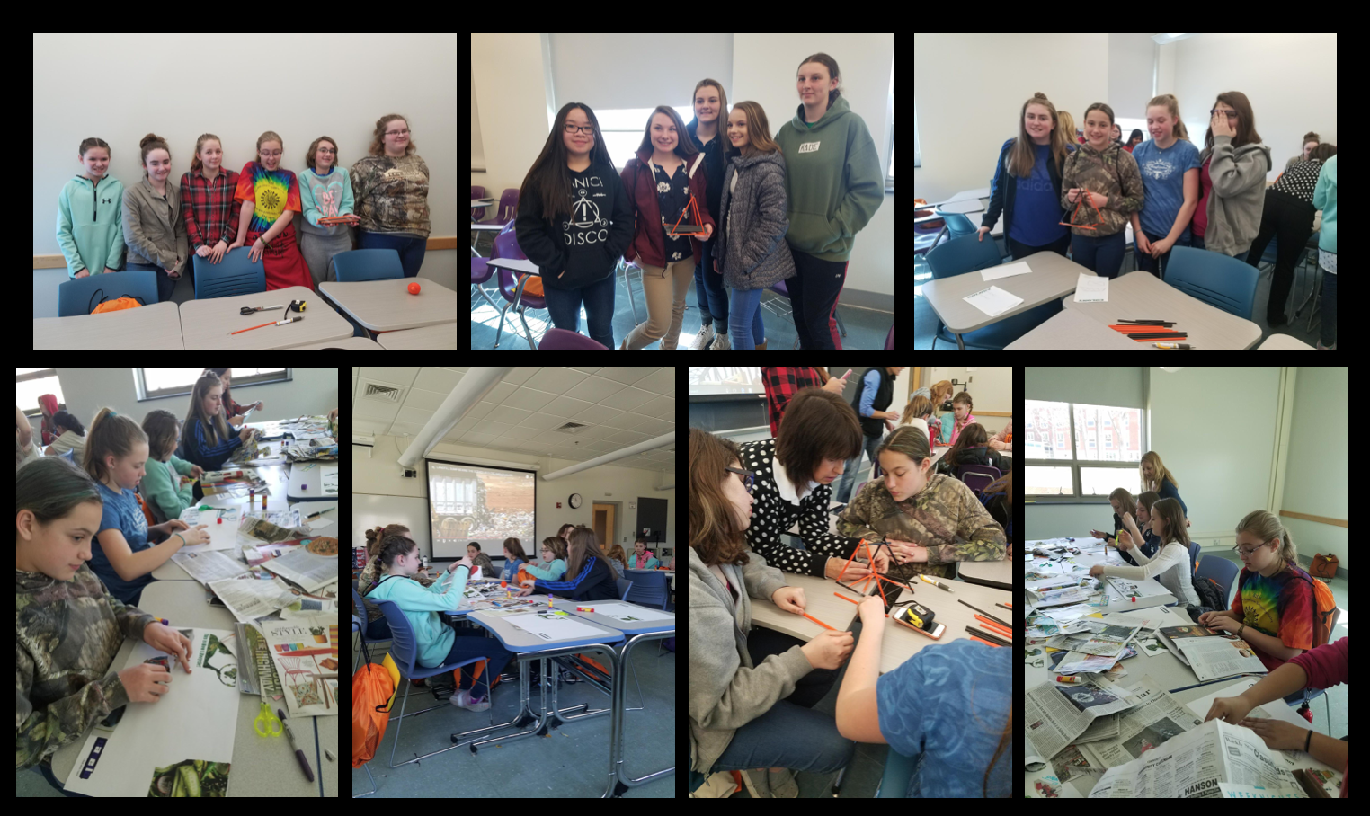 Composite images of ACS stidents participating in activities at Women helping Girls field trip.