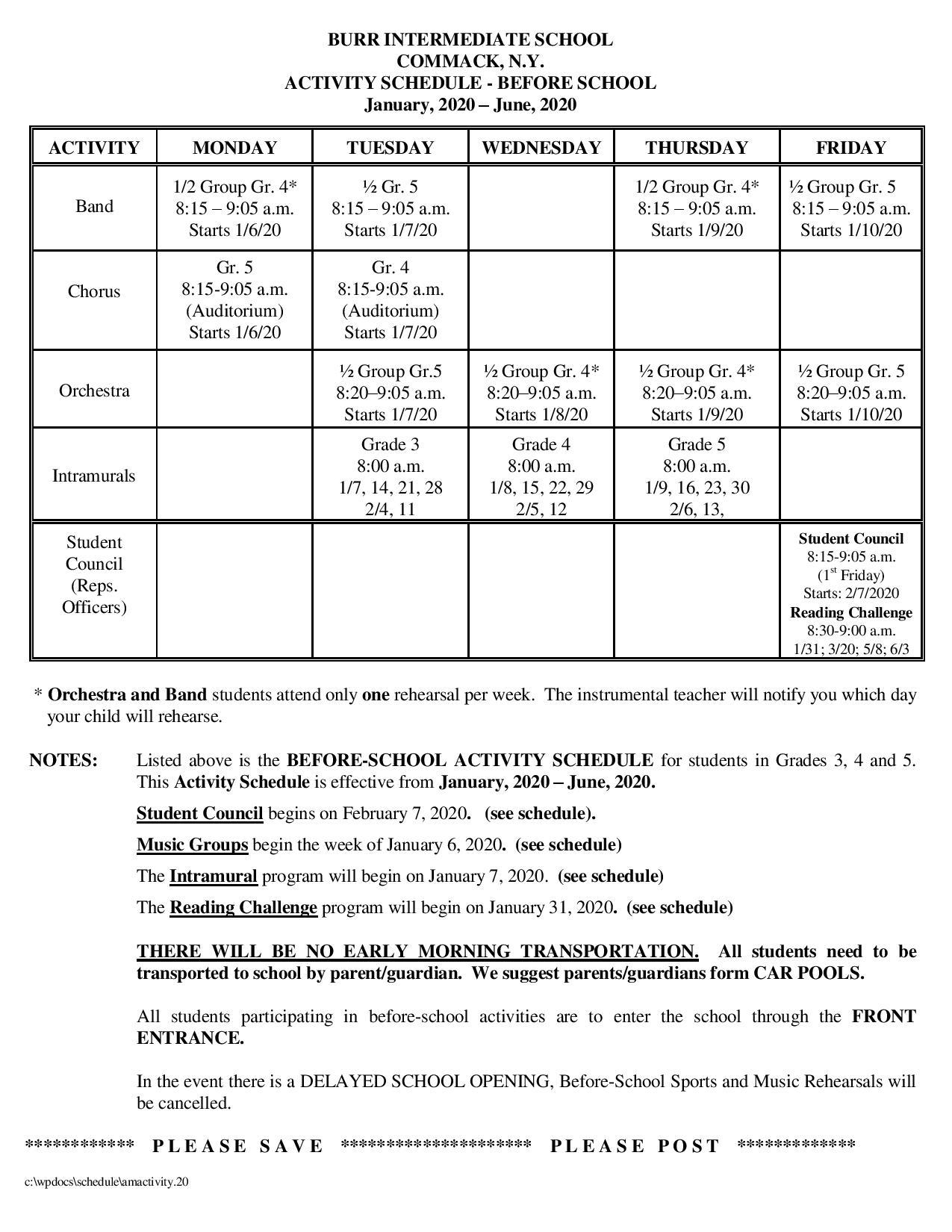 AM Activity Schedule
