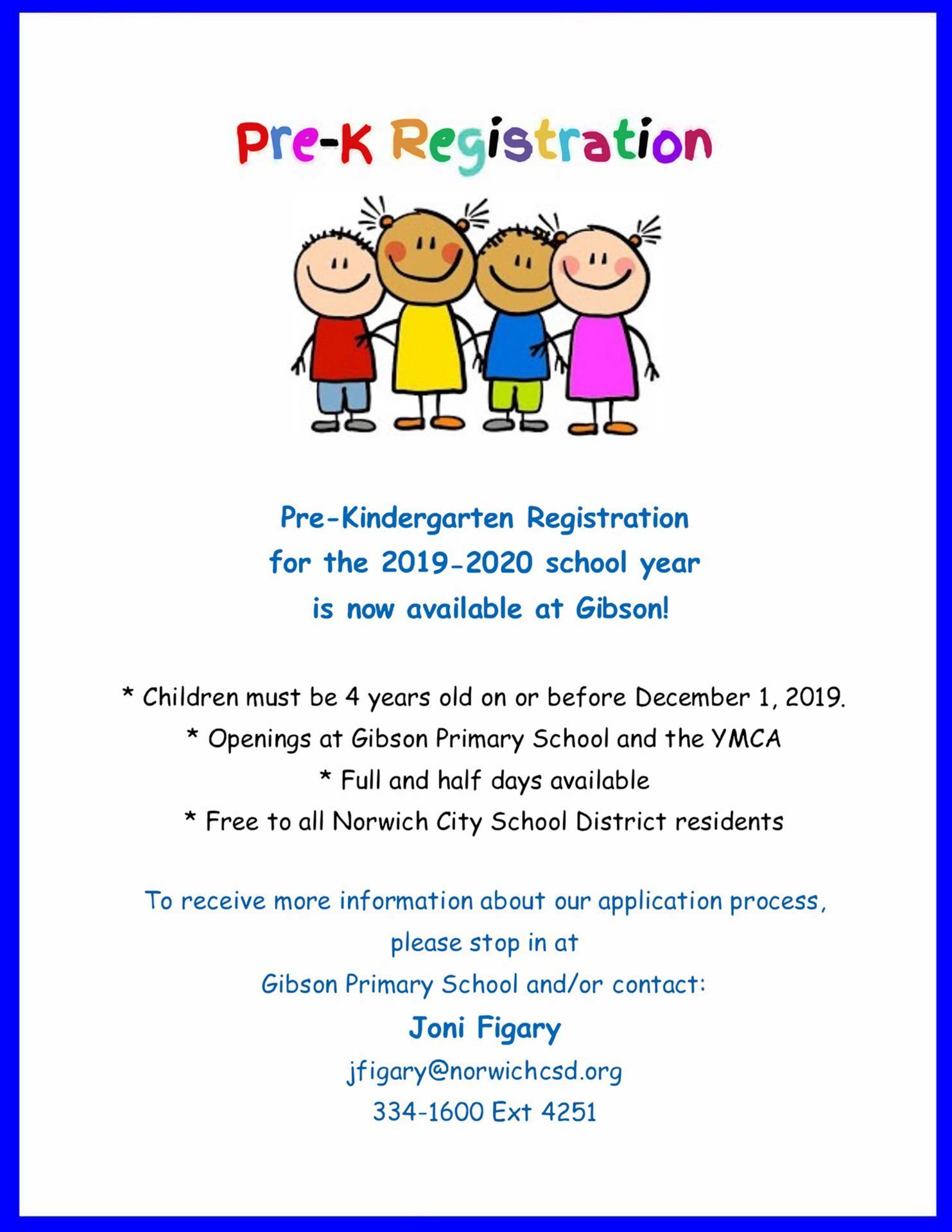 Pre-K Registration Flyer 2019-2020