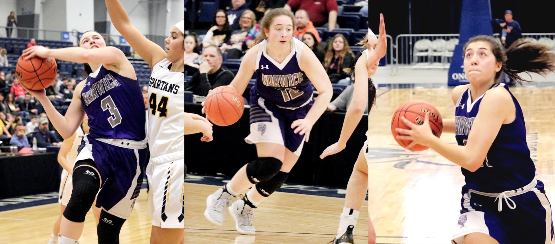 2019 all-state girls basketball players Taylor Hansen, Halea Eaton and Abby Flynn