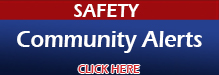 Graphic says safety community alerts, click here