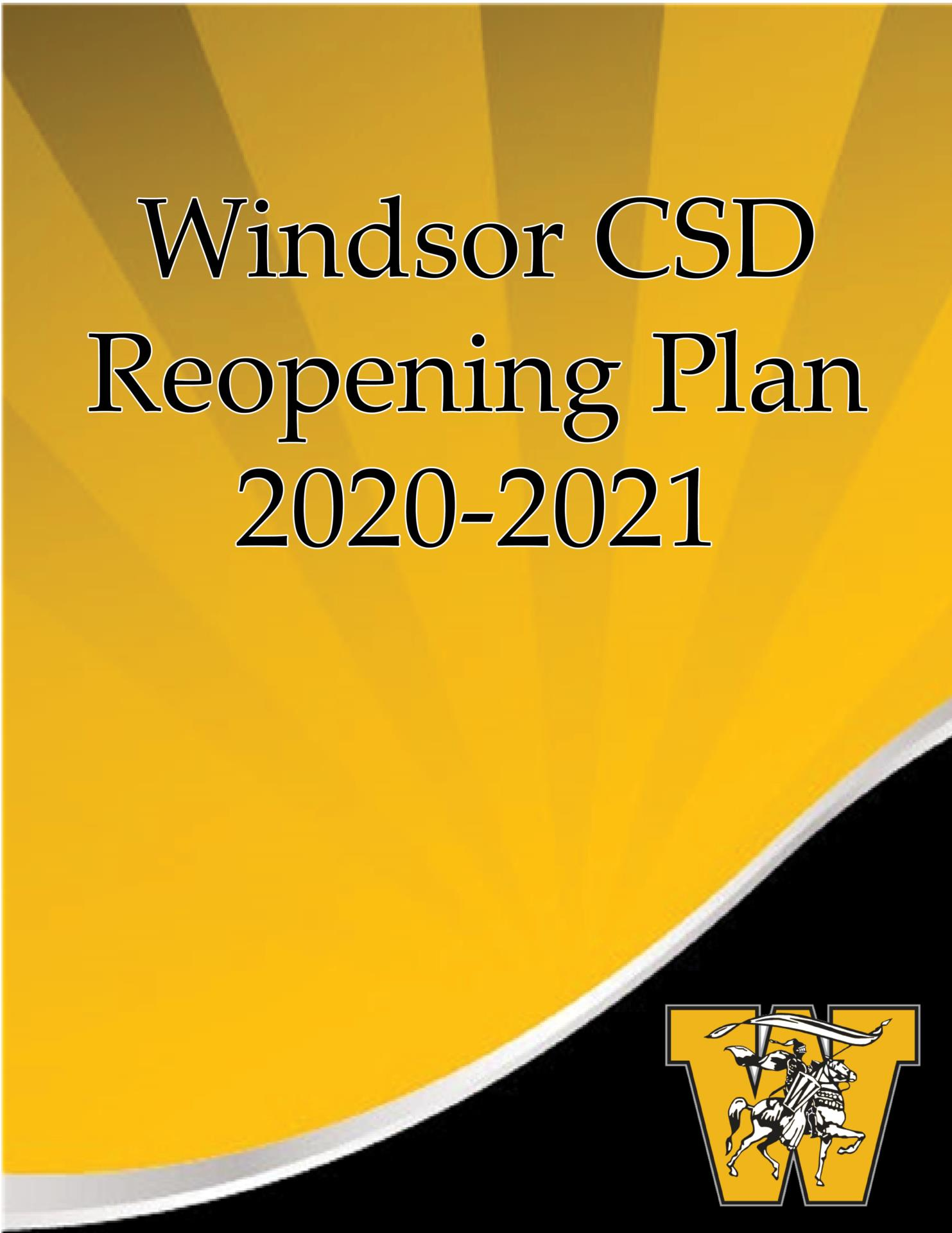 Black and gold cover with Windsor CSD Reopening Plan 2020-2021