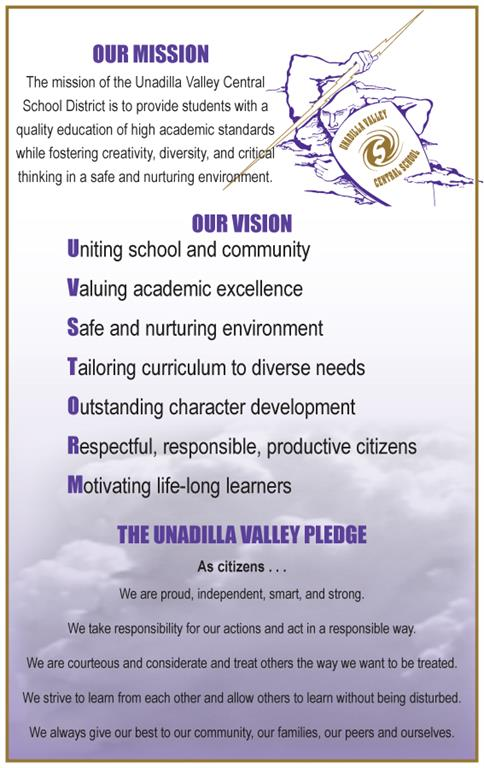 The text of the UV mission statement, vision and pledge