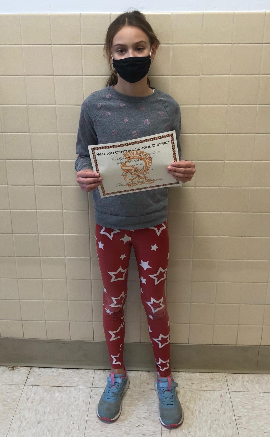 5th grade Superintendent's award