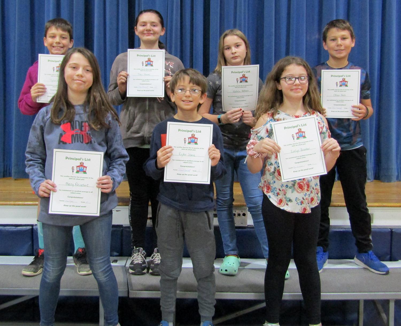 Fifth grade principal's list first quarter 2019-20