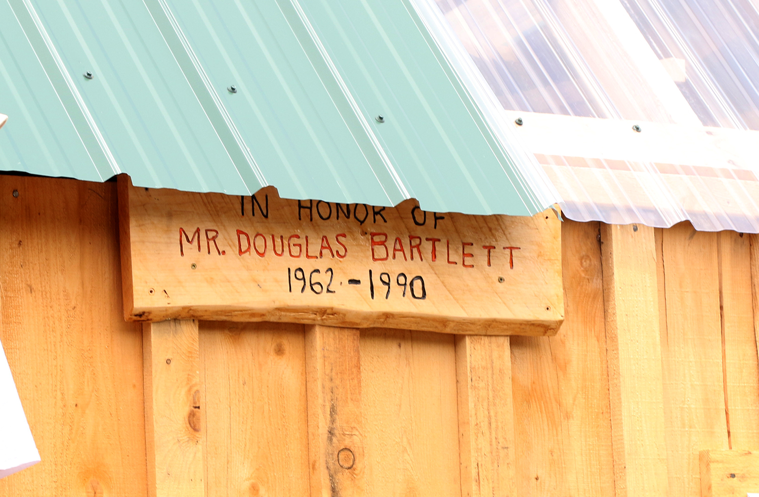 The sign on the shed