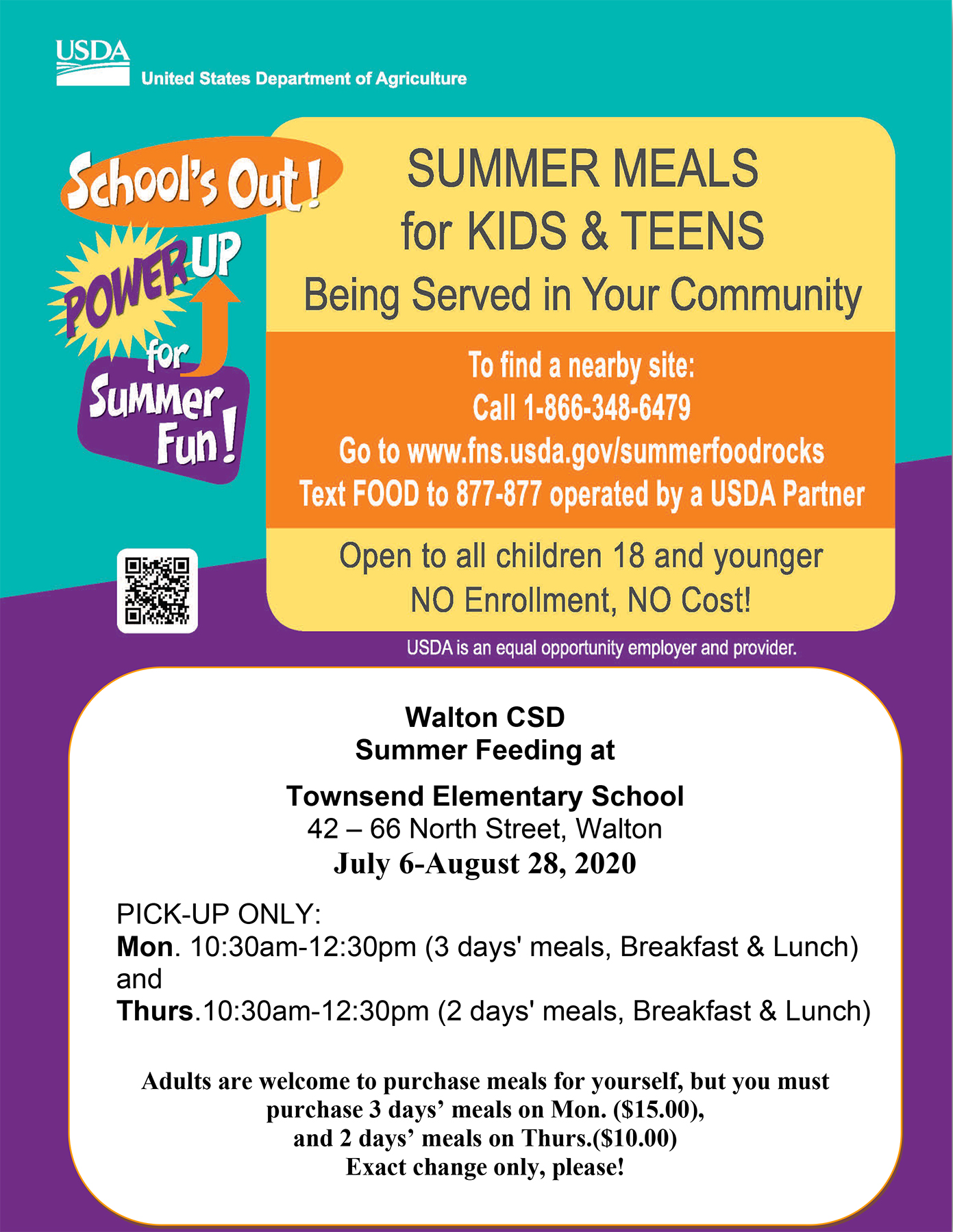 Summer meal program flier