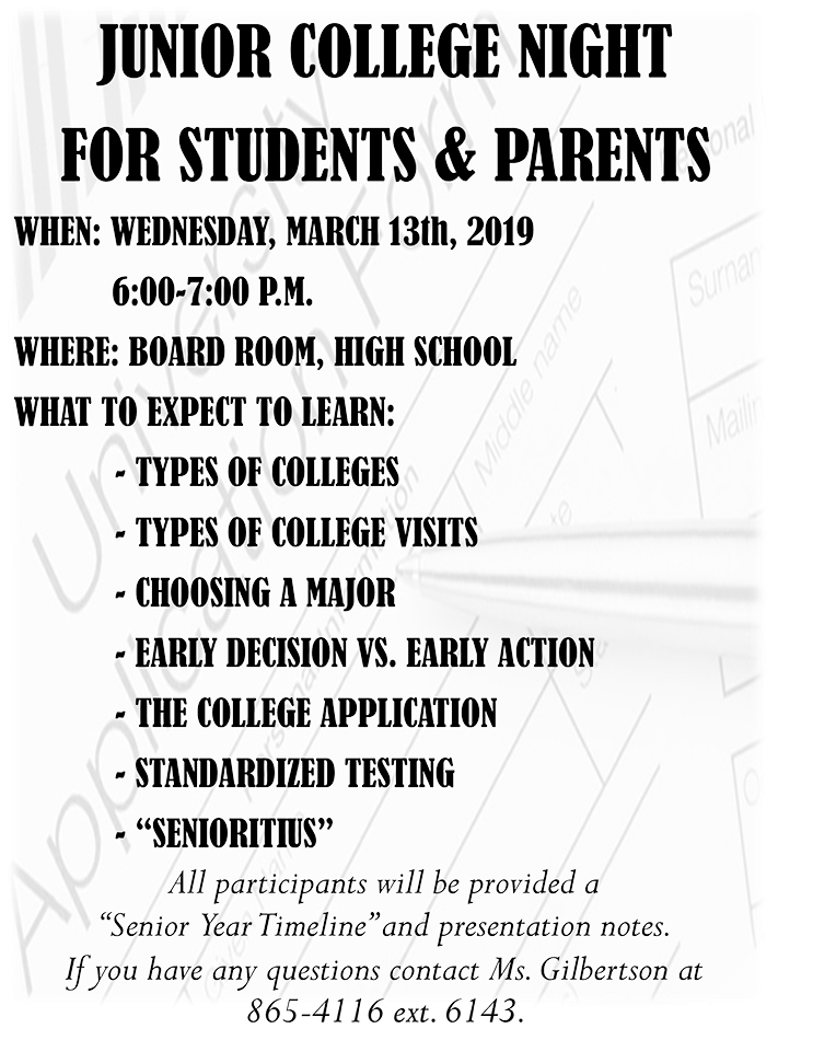 Junior college night flyer