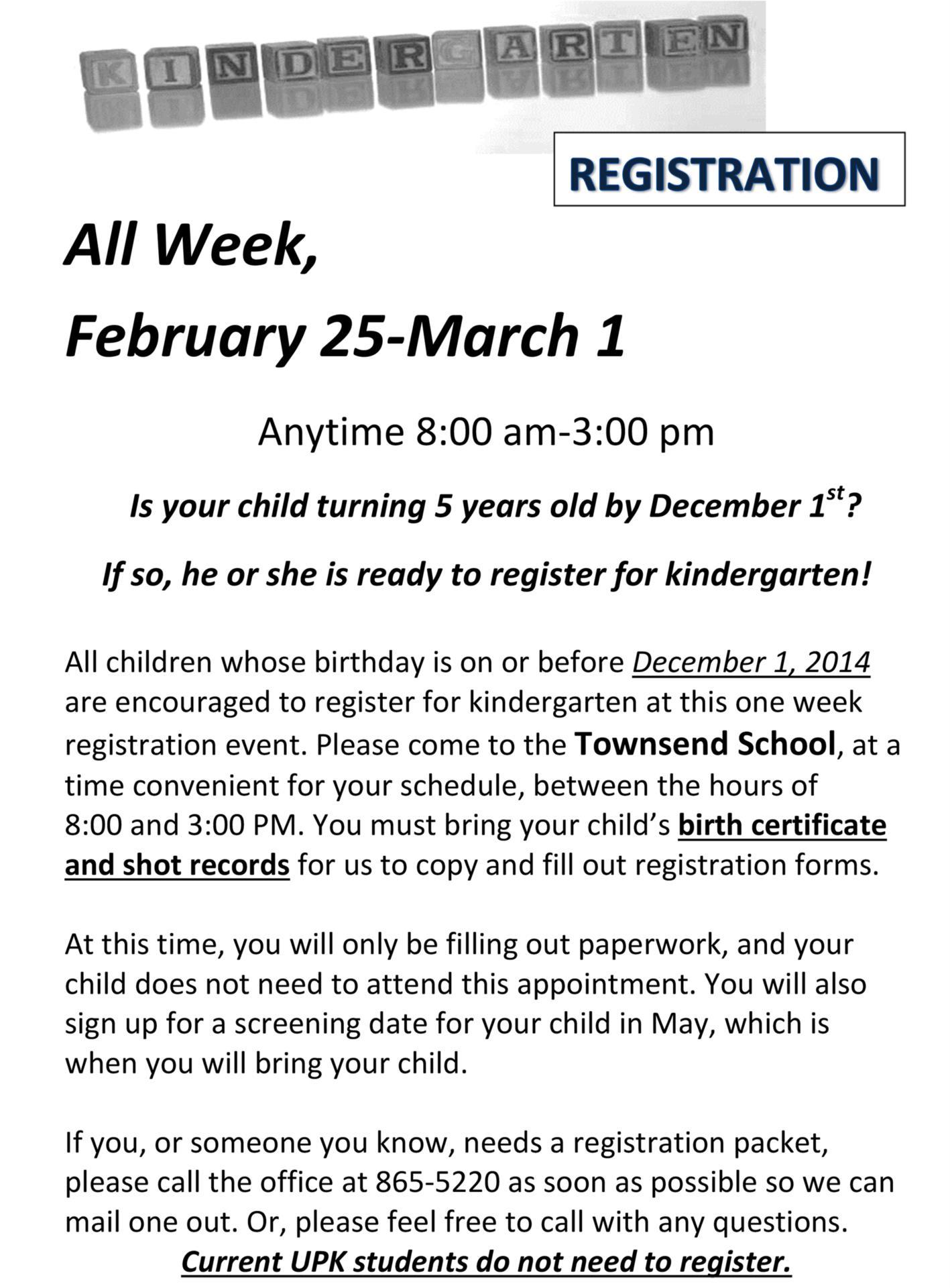 2019 kindergarten registration