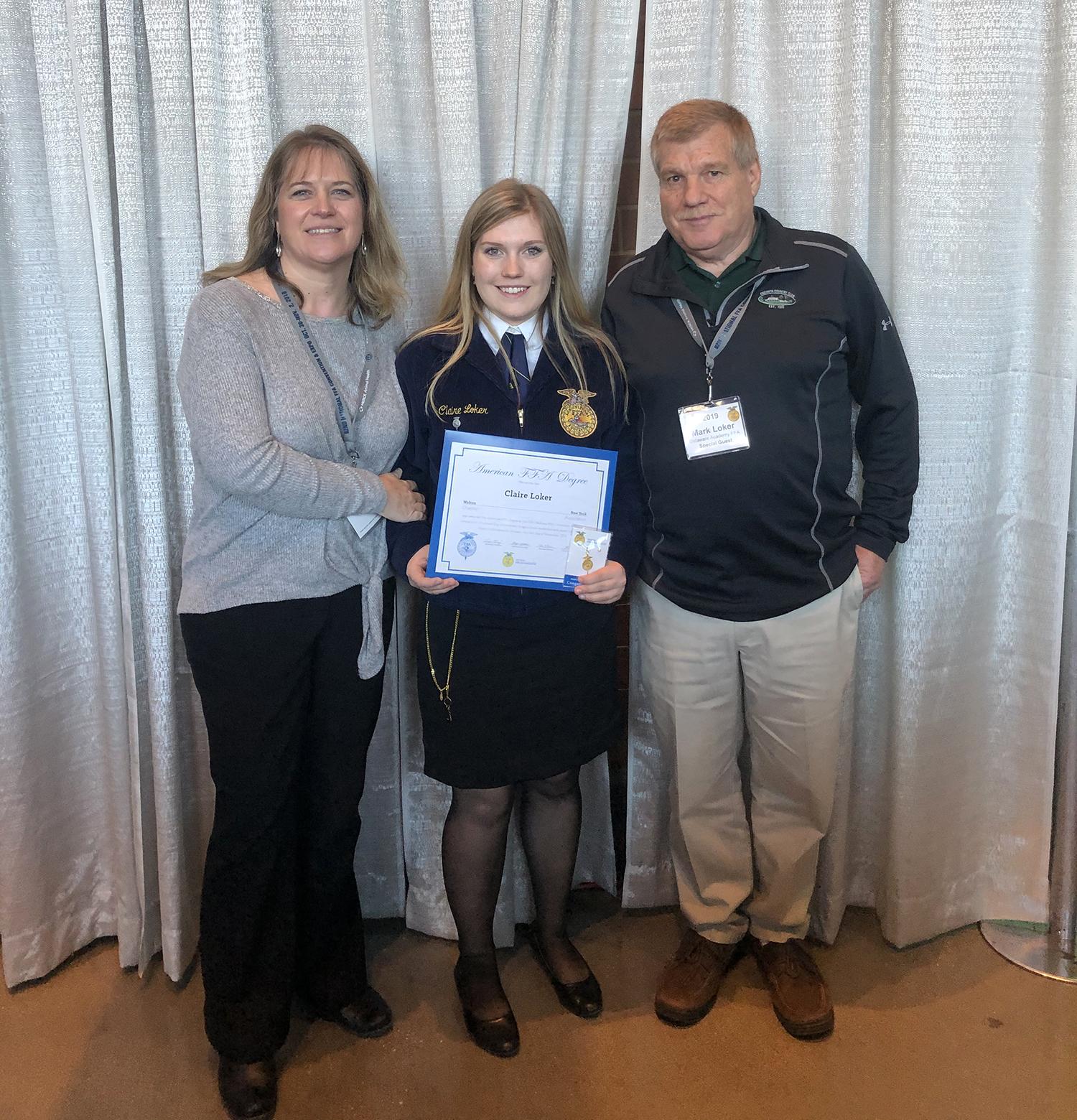 Walton graduate Claire Loker after earning the American FFA Degree