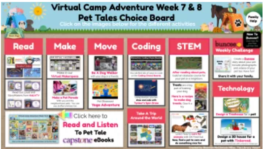 Screen shot of Buncee Virtual Camp Pet Tales