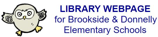 """Cartoon owl """"LIBRARY WEBPAGE for Brookside & Donnelly Elementary Schools"""""""