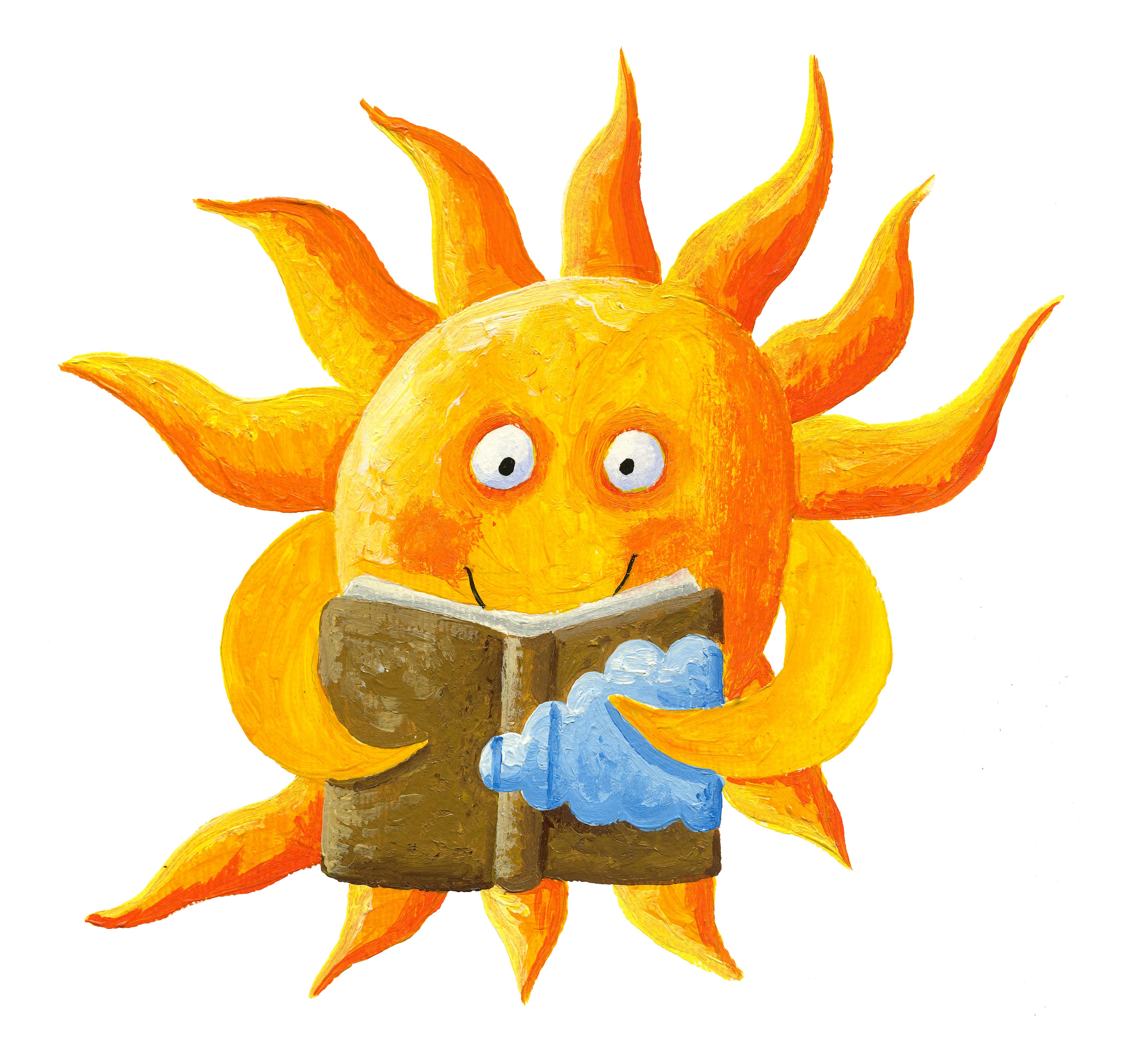 cartoon sun reading a book