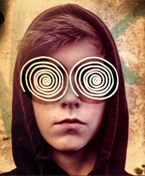 Teen with spirals drawn over eyes
