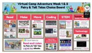 screen shot of Buncee Virutal Summer Camp Week 1 Fairy tales