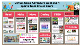 screenshot of Buncee virutal summer camp week 2 sports tales