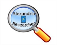 "Icon of magnifiing glass that reads, ""Alexandria Researcher"""
