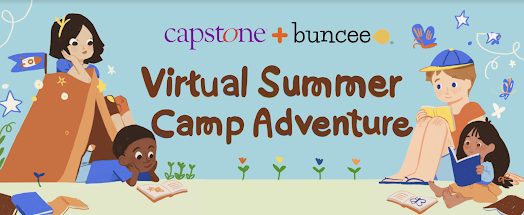"""Picture of children reading at campground with the words, """"Capstone+Buncee Virtual Summer Camp Adventure"""""""