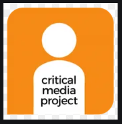 """Abstract outline of person with the words """"critical media project"""""""