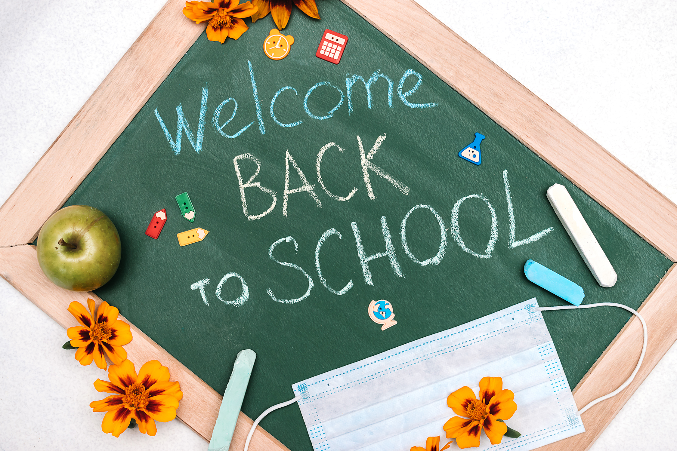 Welcome Back To School on handheld chalkboard with chalk, apple, mask, decorations (9/2020)