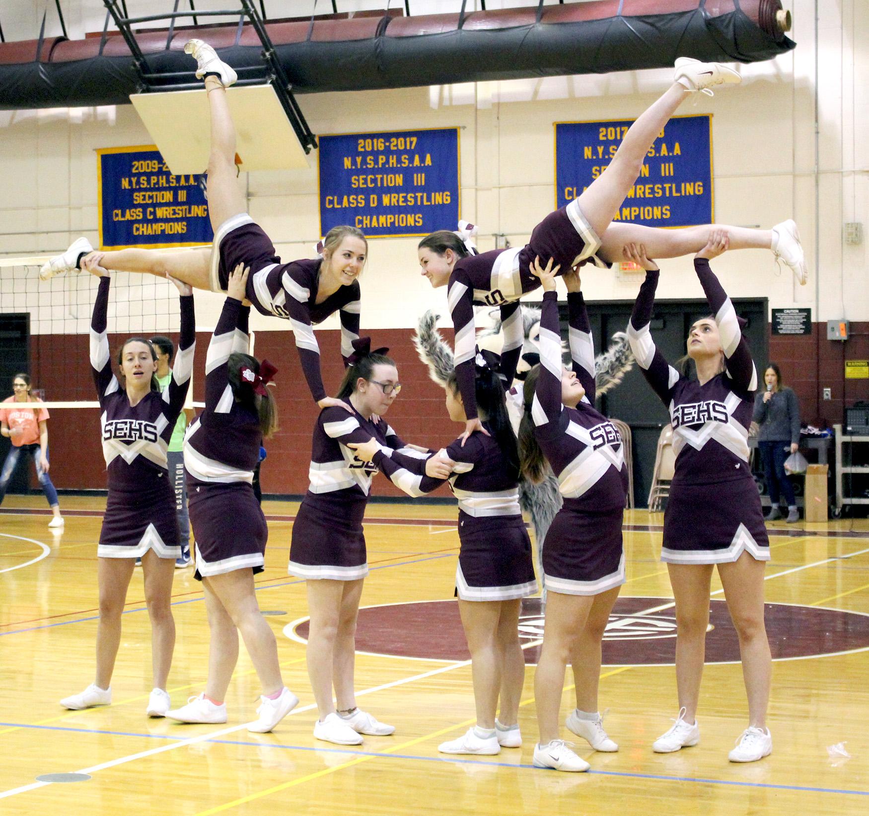Cheerleaders performing in gym (9/2020)