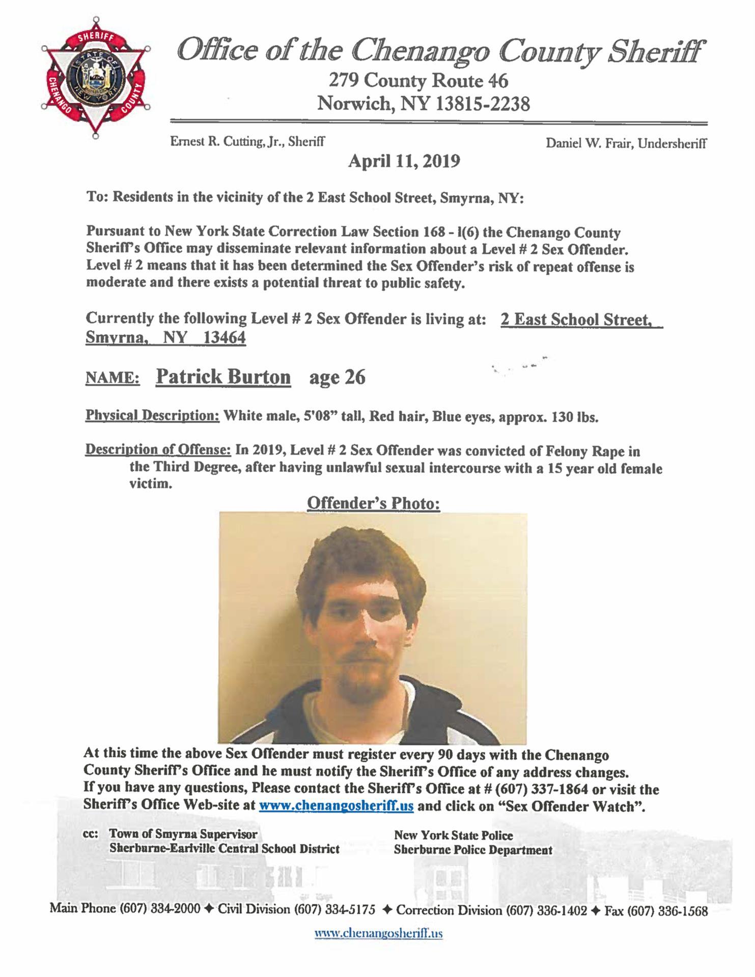 Patrick Burton Offender Notice