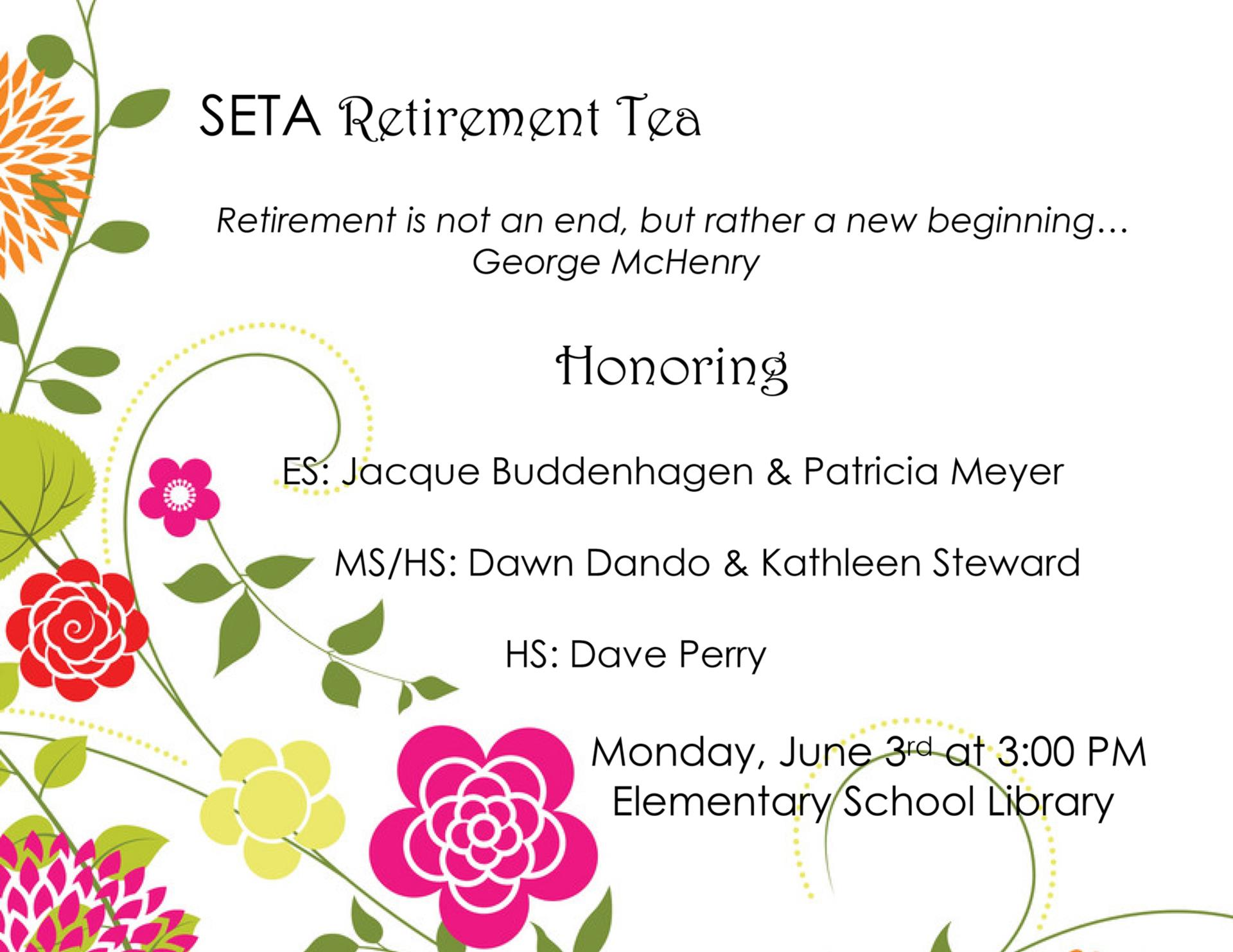 SETA Retirement Tea Poster