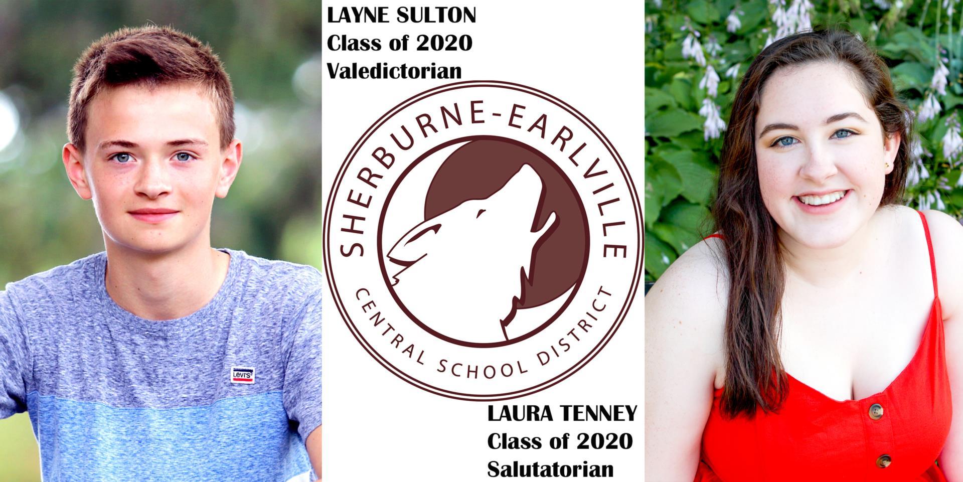 Valedictorian Layne Sulton and Salutatorian Laura Tenney 2020