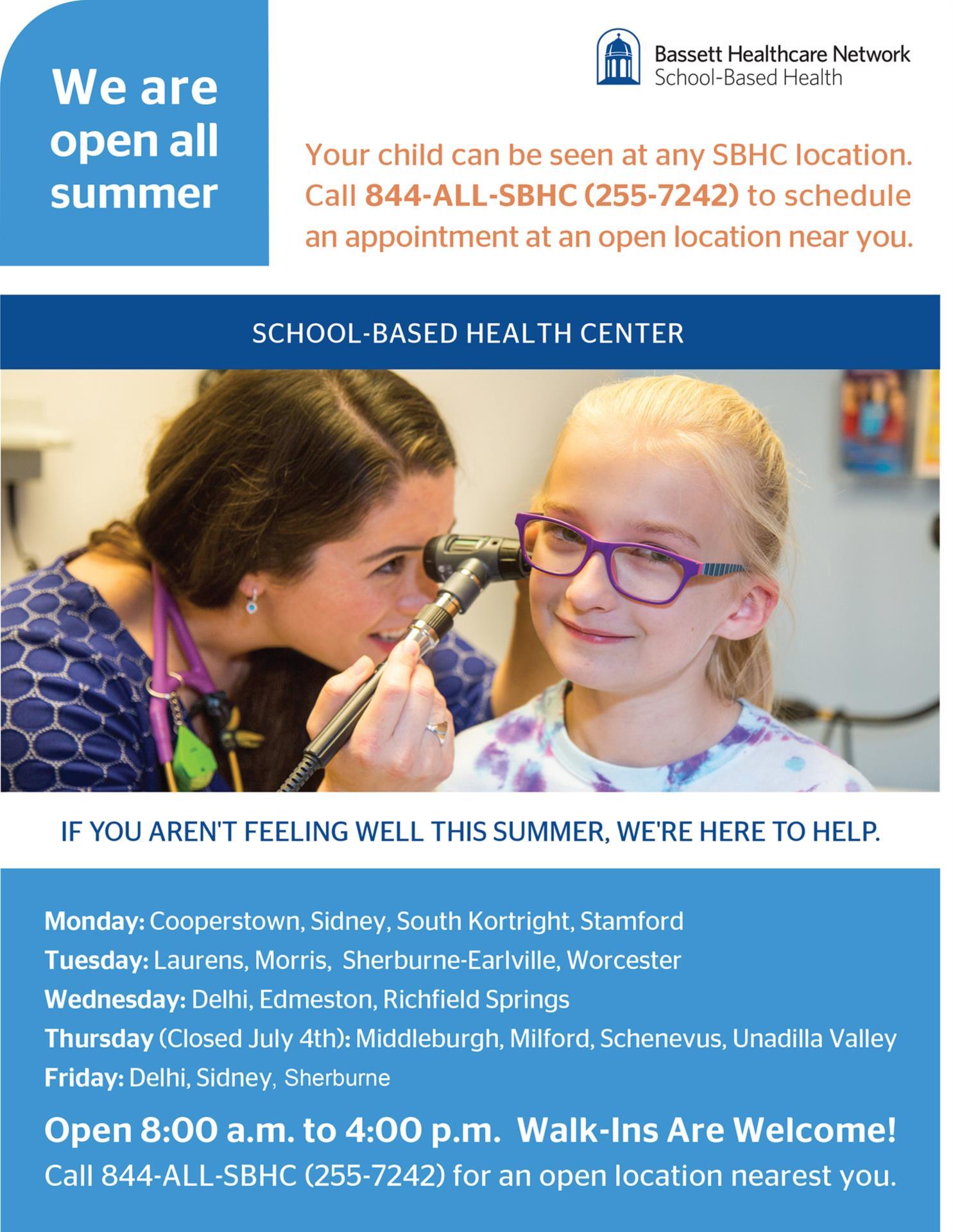 School Based Health Center Flyer