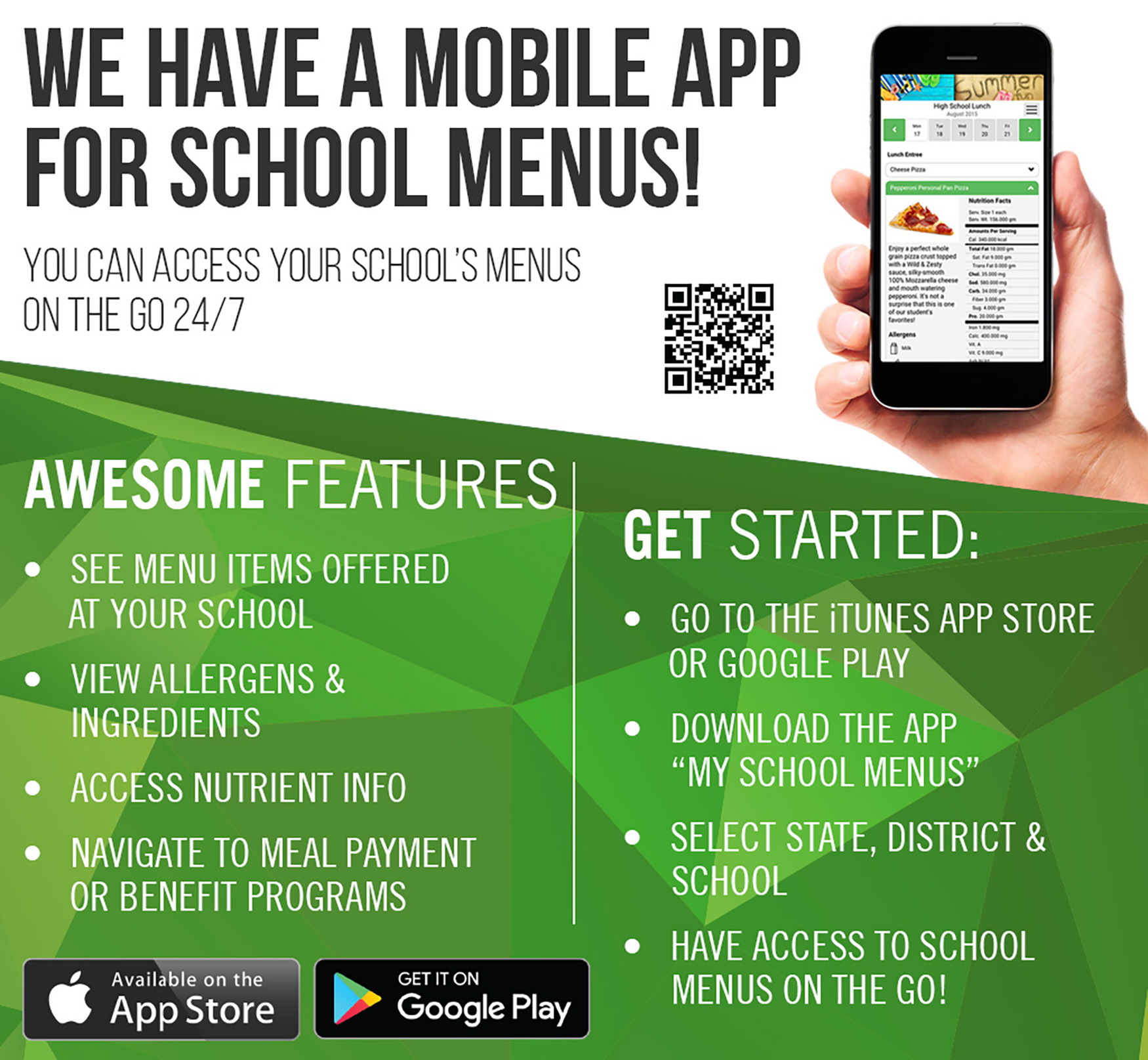 My School Menus App Flyer 2019