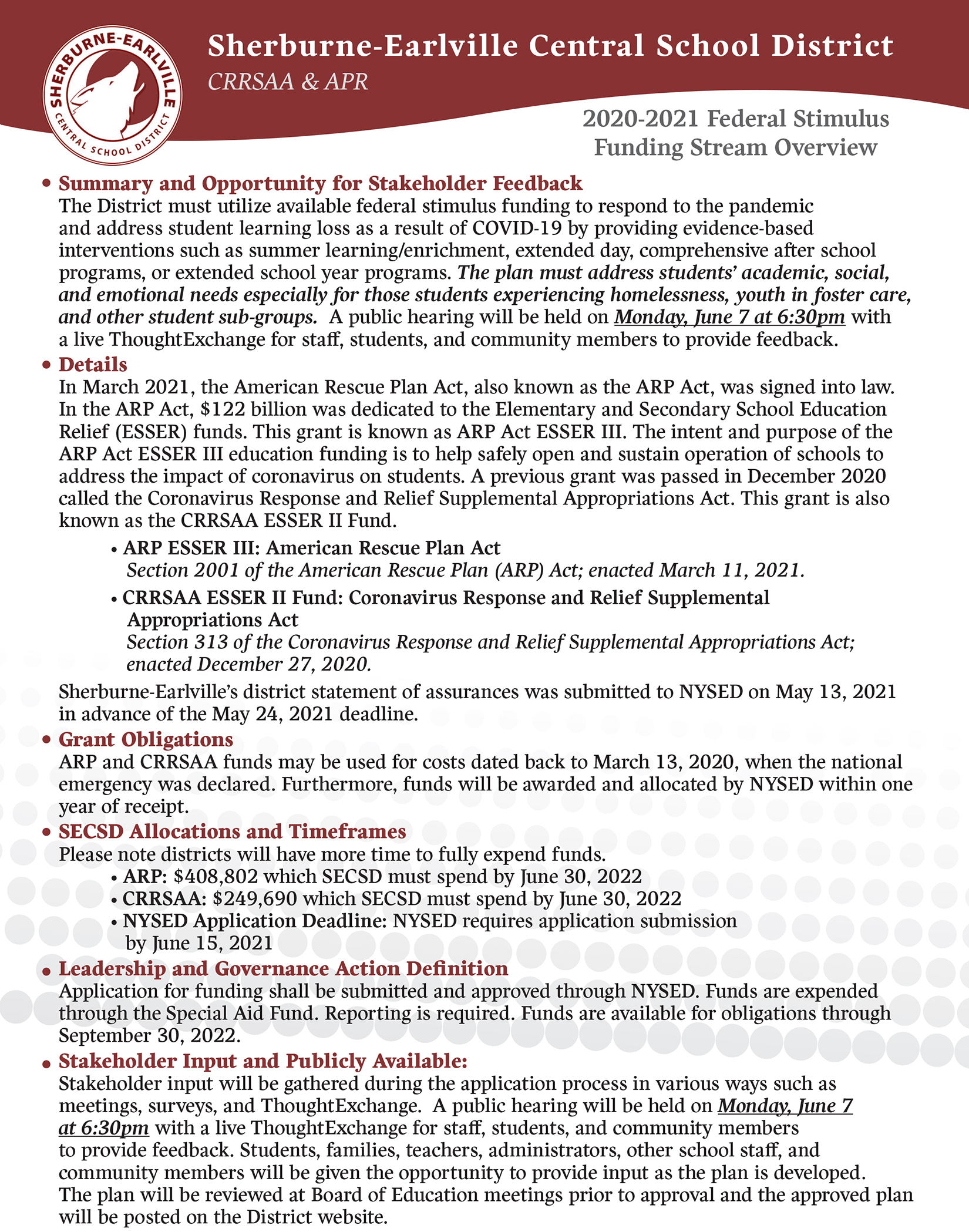 Federal Stimulus Overview Page 1