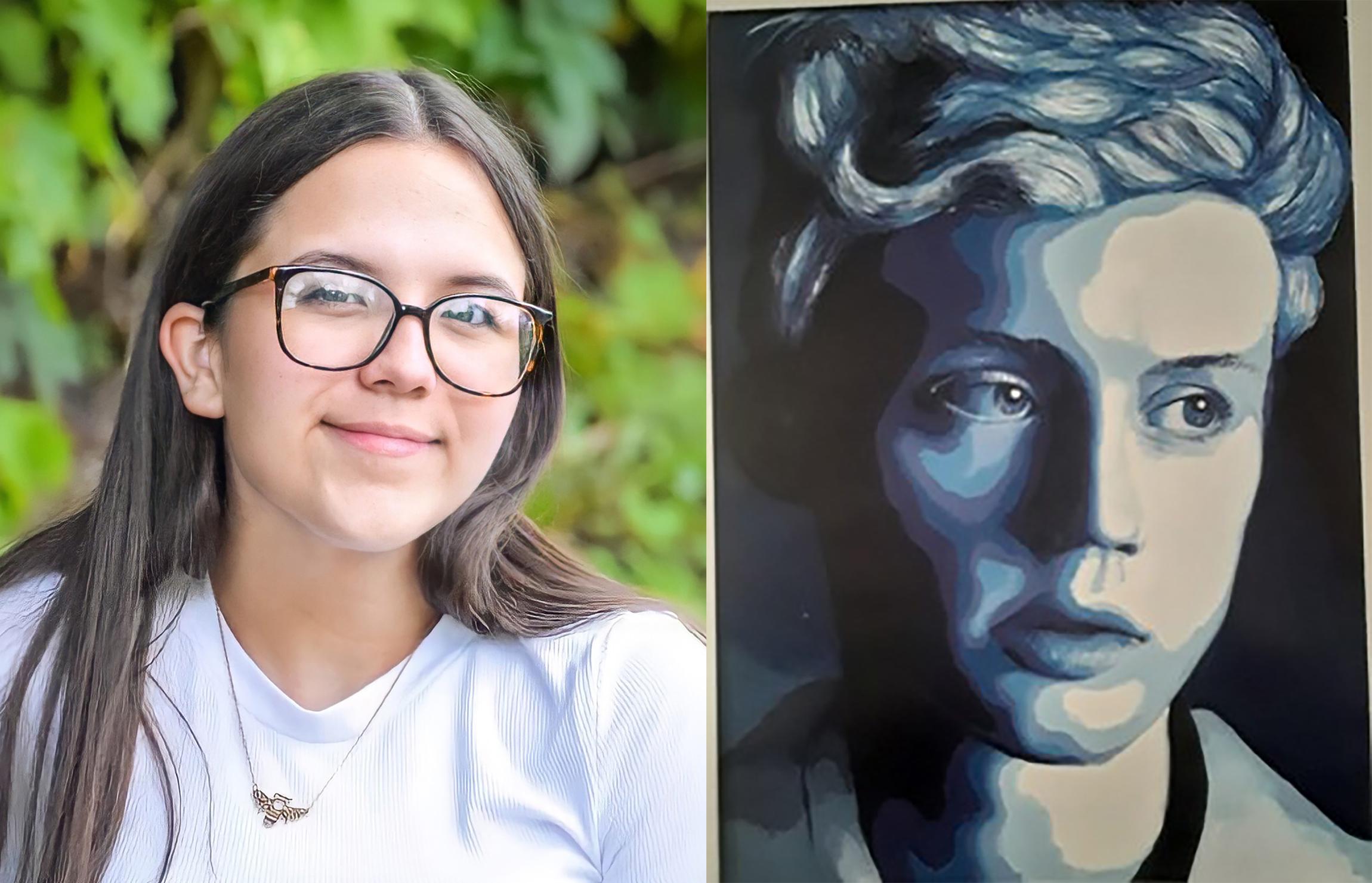 Lillie Ashton with artwork