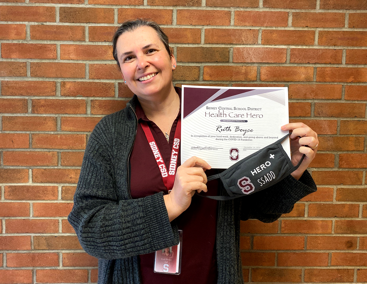 Ruth Boyce with certificate