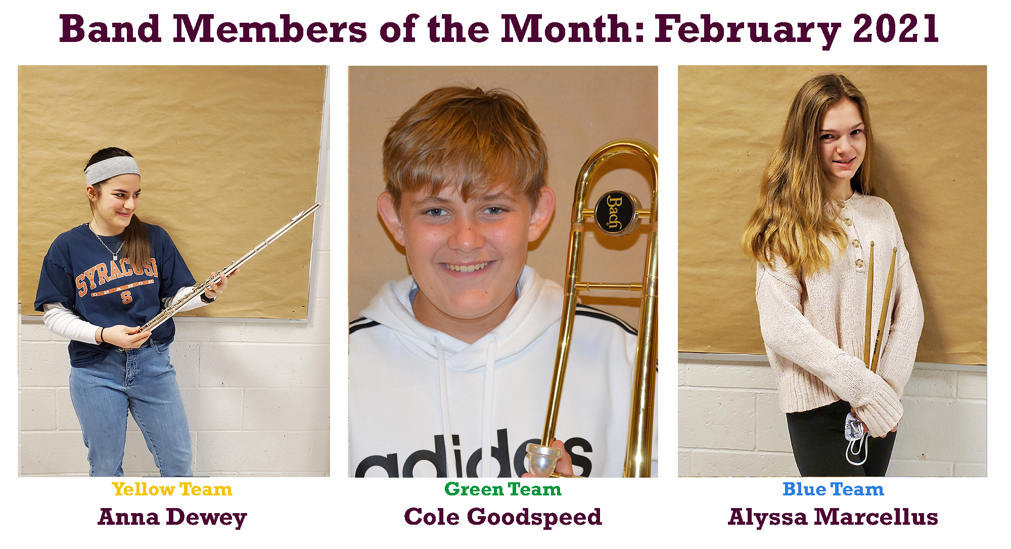 February Band Members of the Month