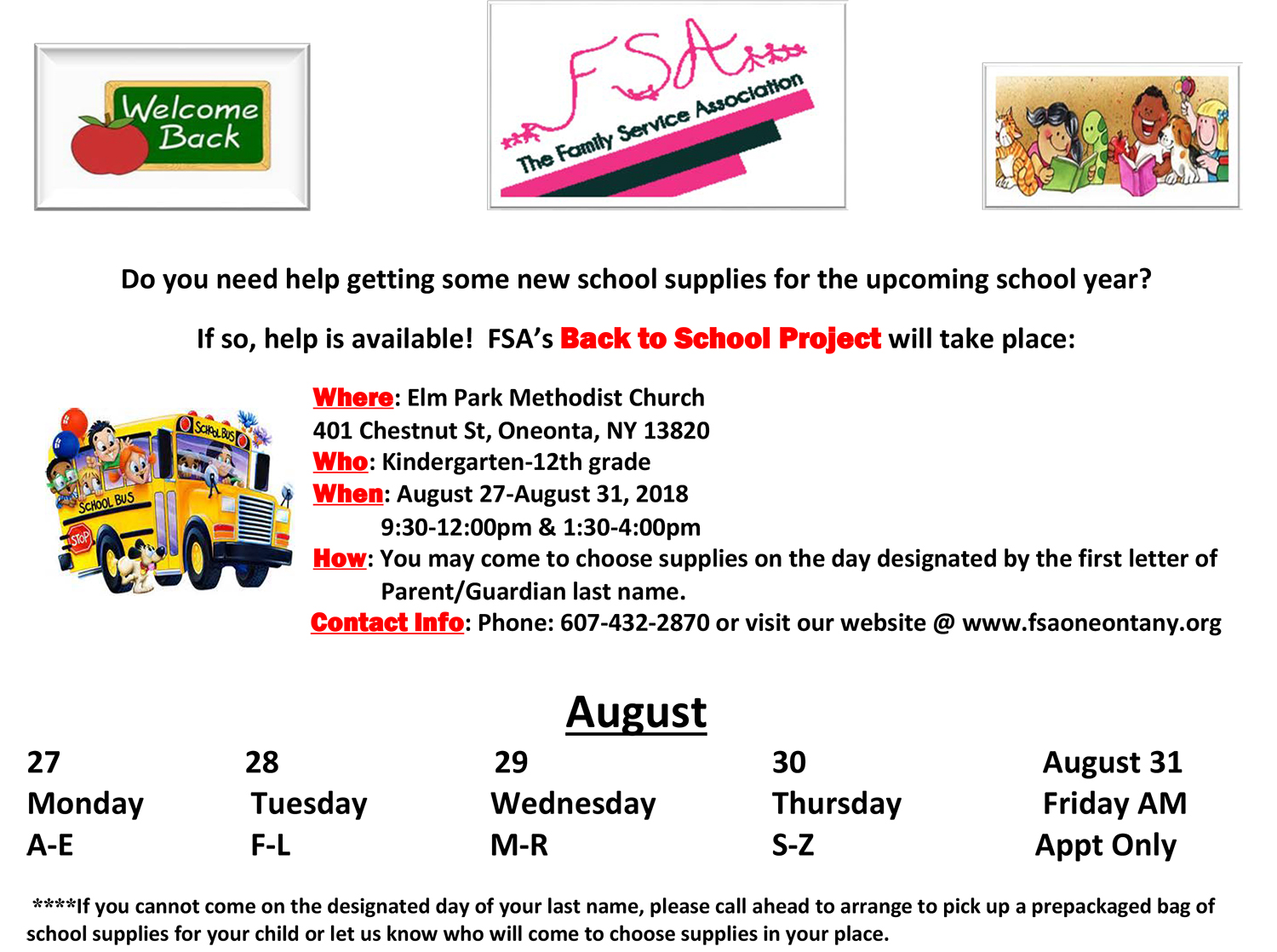 FSA Back to School Project