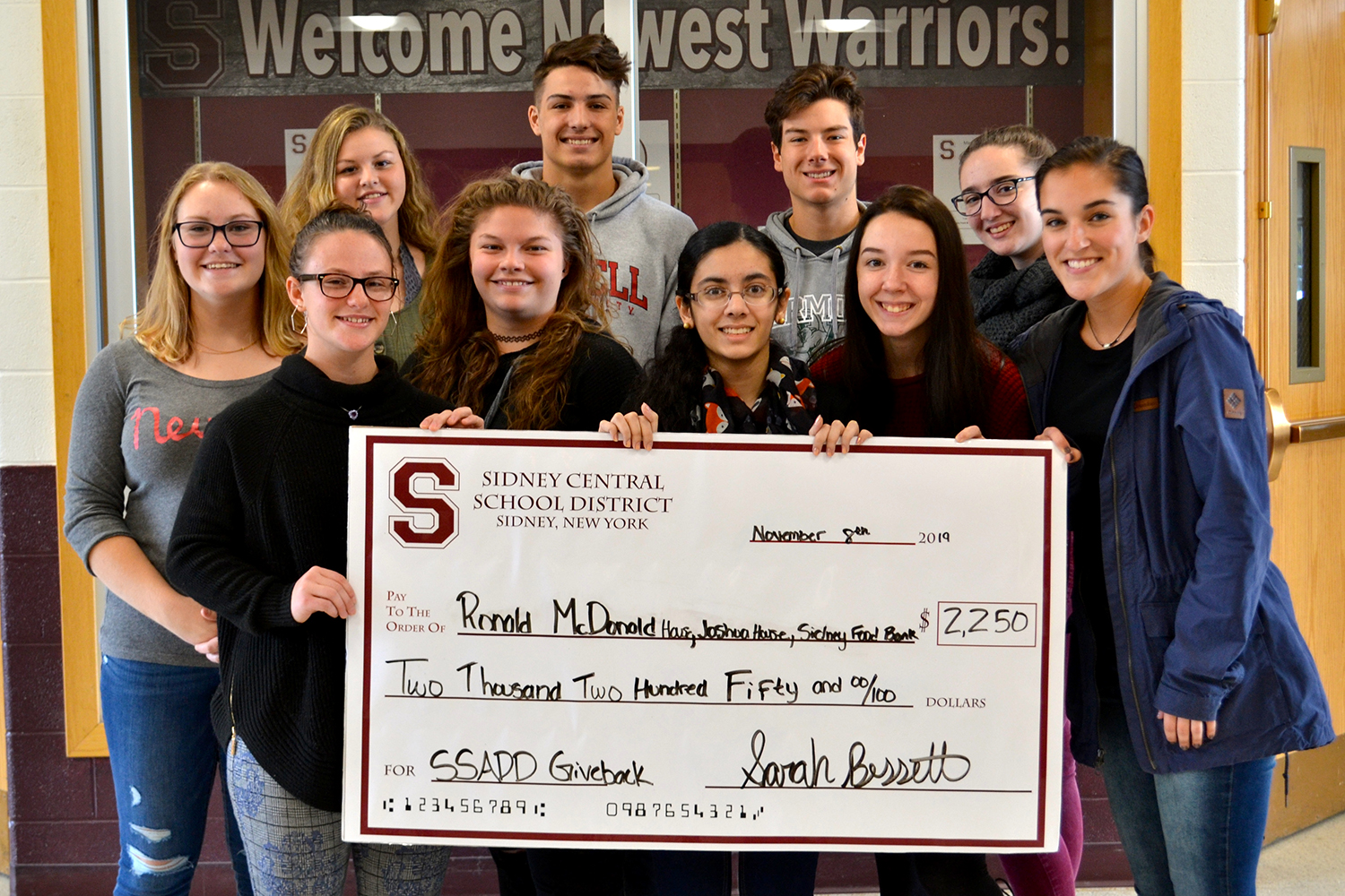 Donation of check from SSADD