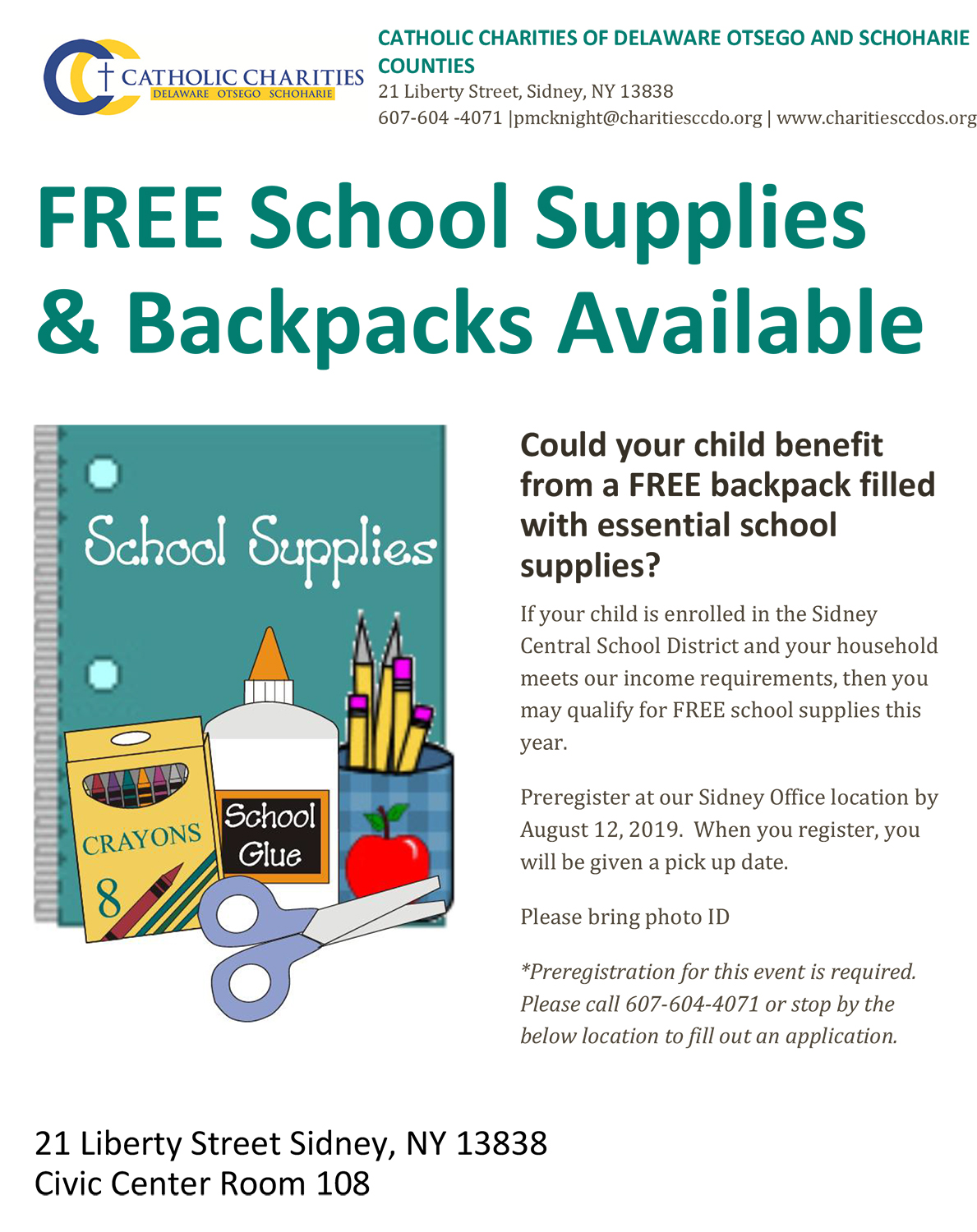 Free school supplirs and backpacks program