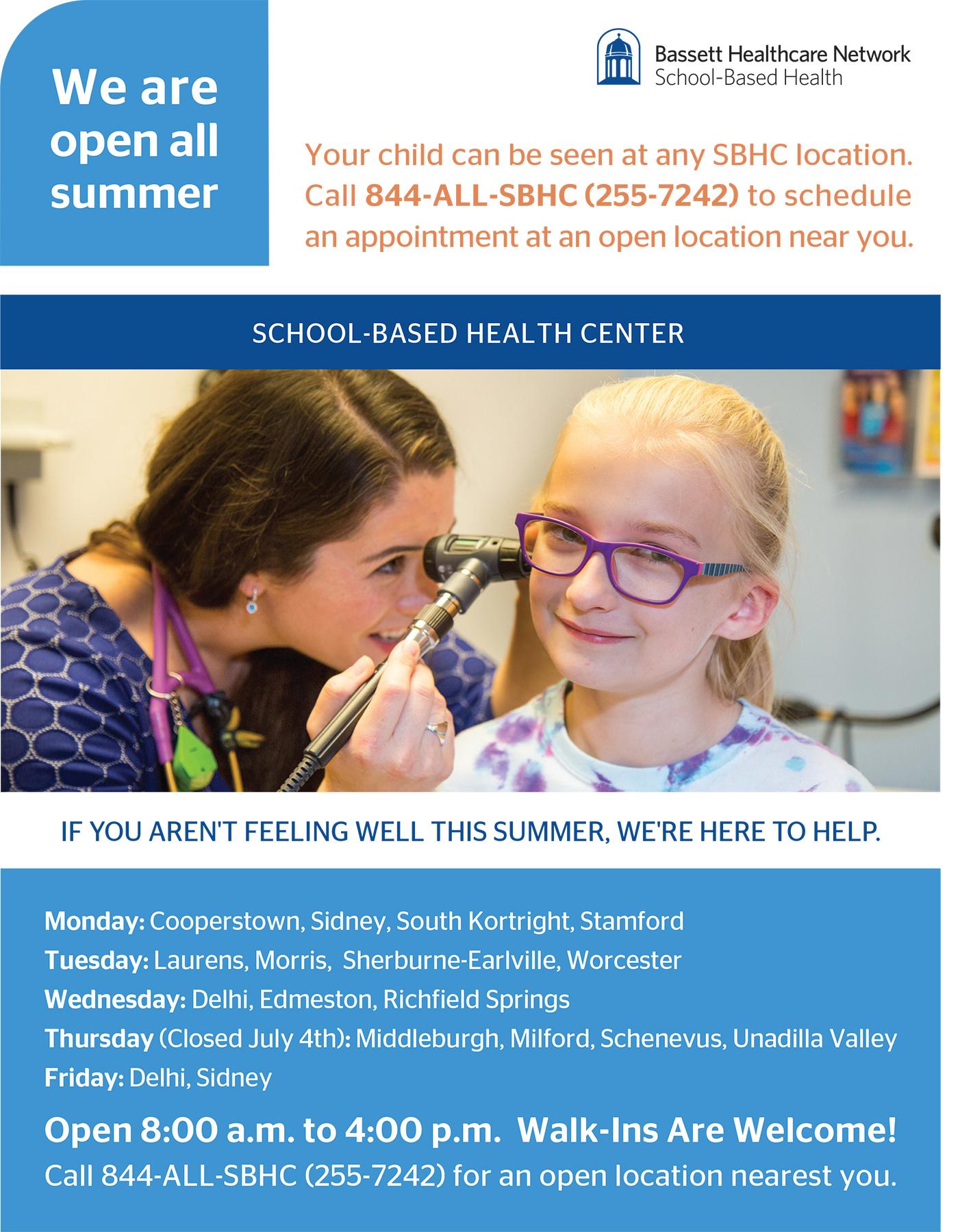 School-based health center summer info