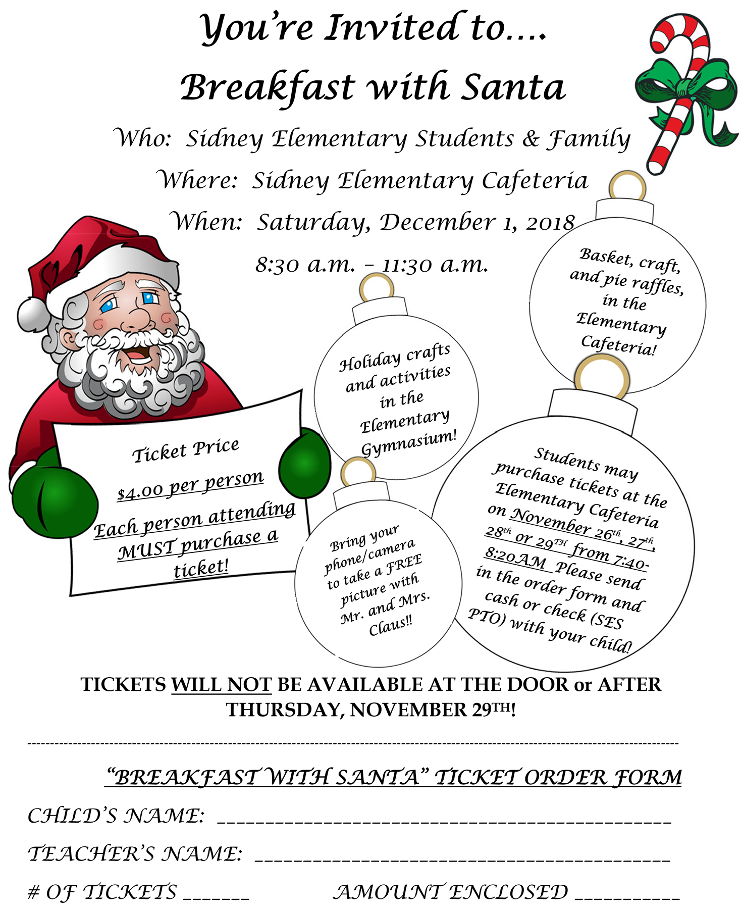 Breakfast with Santa flyer 2018